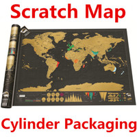 Wholesale Deluxe Scratch World Map x59 cm Black Background Foil Cover With Delicate Cylinder Packaging Creative DIY Gift Eduction Toys