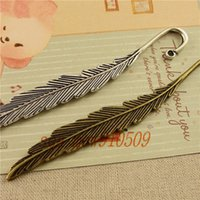 Wholesale pieces MM Silver antique bronze plated vintage style metal zinc alloy feather bookmark hm040