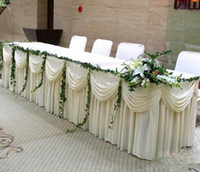 Wholesale Fashion white Ice Silk Solid Table Skirt Wedding Table Skirting ft length FAST SHIP