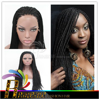 Wholesale Synthetic micro braided lace front wigs for black women long black synthetic micro braid wigs glueless lace front braided wigs