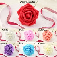Fimo Clay ribbon rose - Hot Sales As a Set Rose Artificial Flower Petals Ribbon Bouquet For Wedding Decorations Bridal Posy Party Decor IX184