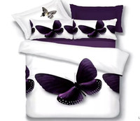 al por mayor colcha púrpura completa-Queen size cama hoja establece juego de cama blanco púrpura mariposa edredón edredón cubre colchas completa dormitorio doble ropa de cama 4pcs occidental