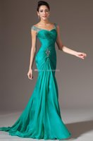 best shoulder strap - 2015 Best Selling Mermaid V neck Floor Length Turquoise Chiffon Cap Sleeve Prom Dresses Beaded Pleats Discount Prom Gowns Dress for Evening