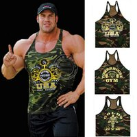 Cheap Wholesale-Golds Gym Super Camouflage Professional Weighted Fitness Men Tank Tops Army Green Bodybuilding Muscle Vest Stringer Top Shirt