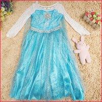 Cheap Diamante Frozen Princess Dress Cosplay Costume Frozen Kids Costume Frozen Dresses with diamante Party Dresses Kids Clothing Baby Clothes