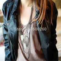 Wholesale Hot sales Bohemian Necklace Vintage Leaves Multi layer Alloy Bohemia Long Necklace Silver Gold Pendant Chain Fashion Jewelry