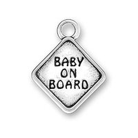 Cheap 50pcs a lot antique silver plated square pendant fashion design letter BABY ON BOARO charms for diy making