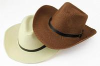 Wholesale 2016 new Cowboy straw hats for men neutral Fashion straw hat hats adult summer Visor Wide Brim Hats