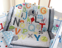 Wholesale 2016 Baby bedding set Embroidery D letter elephant Crib bedding set Early education Bed Skirt Baby Quilt Bumper etc Cot bedding set
