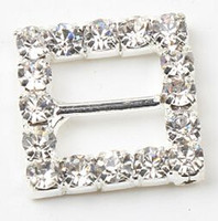 Wholesale 11mm Bar Silver Plate mm Crystal Square Shaped Rhinestone Buckles Invitation Ribbon Slider Wedding Supplies