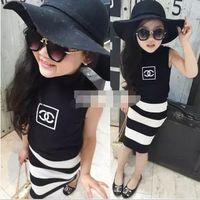 korean fashion clothing - 2015 Korean Style Girls Summer Fashion Striped Sleeveless Set Childrens Sleeveless T shirt And Skinny Skirt Two Pieces Set Kids Clothes