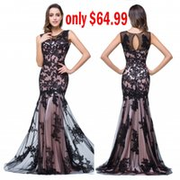 Wholesale 2016 Sexy Sheer Tulle Bateau Sleeveless Mermaid Evening Dresses Black Lace Appliques Formal Party Prom Gowns BZP0795
