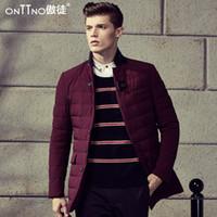 basics jacket mens - Fall Luxury Man Winter Jacket Mens Burgundy Coats Down Coat Male Long In Red Wine Basic Luxury Parka Lightweight Beige