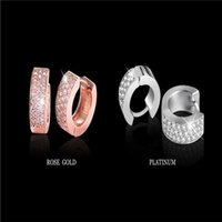 Wholesale TOP Quality Round Crystal Hoop Earrings for Women Swiss Cubic Zircon Micro CZ Earrings Wedding Jewelry Rose Gold Plated