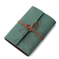 spiral notebook - Vintage Leaf Leather Blank Notebook Spiral Soft Copybook Handmade Notepad Memos Office School Students Supplies Gifts Green