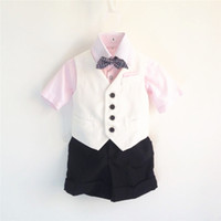 baby boy dress clothes wedding - Toddler Boys Elegant Prince Dress Formal Clothes piece Sets For First Birthday Baby Wedding Suits With Vest and Pants Sets