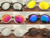 Wholesale Color glass sunglasses adumbral luxury men women round frame uv400 protection sunglasses summer beach driving outdoor sports sunglasses gift