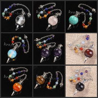 Wholesale mixture charming gemstone Silvery Metal Ball Chain Dowsing Healing Chakra Pendulum Gift Can choose color