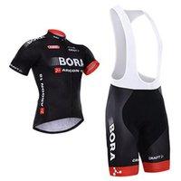 Wholesale Hot Sales Team Bora Black Cycling Jersey Sets Outdoor Road Cycling Jerseys Short Sleeves Top Padded Bib Bike Shorts Highly Fast Drying