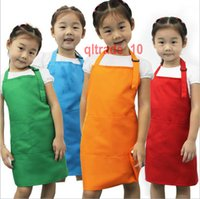 arts aprons - 20 BBA5649 colors Kids Aprons Pocket Craft Cooking Aprons Baking Art Painting Aprons baby Kitchen Dining Bib Children Aprons Eat overall