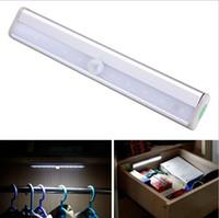 Wholesale 10 LED Human body induction lamp Motion Detector Wireless Sensor Closet Cabinet Light Lamp corridor wardrobe emergency LED light