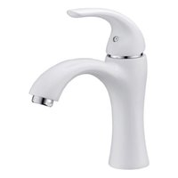 Cheap Cloud Power White Bathroom Sink Faucets Mixer With Hot And Cold , Brass Bathroom Sink Taps With Ceramic Plate Spool