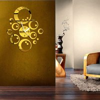 Cheap Modern 3D DIY Sticker Home Room Decor Ring Circle Acrylic Mirror Wall Clock Silver Golden Removable Art Sticker Decor