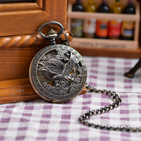 automatic print - Eagle Bird Printed Copper Case Gift Watch Automatic Mechanical Pocket Watch Fashion Cool Popular Luxury Gift Roma Numbers Dial