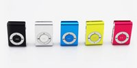 Wholesale Mini Clip Mp3 player with earphones usb cables retail box support Micro SD TF card GB Sport Mp3 Metal mp3 Players colors Free Ship