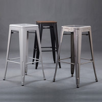 Wholesale Customized industrial retro simple casual bar metal bar stool high chair simple fashion wrought iron metal bar stool