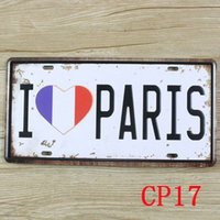 Wholesale CP17 I love Paris Vintage Metal Tin Signs License Plate Bar Pub Cafe Home Art Metal Signs Size about cm