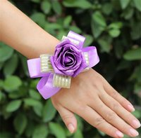 Wholesale NEW Arrivals Bride Bridesmaid Wrist Flower Artificial Foam Rose Bowknot Ribbon Red Pink Purple for Wedding Flower