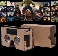 Wholesale DIY Google Cardboard Virtual Reality VR Mobile Phone D Glasses DIY Cardboard D Vr Phone Virtual Reality Viewing Glasses KKA25