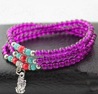 Wholesale 26 Colors Bohemian Multilayer mm Beads Crystal Bracelet quot Tibet Silver Charm Pendant Female Beaded Strands Chain Necklace Mix Order