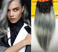 24 inch clip in human hair extensions - Ombre Grey Clip in human hair b grey clip hair extensions ombre grey human hair extensions per set sets