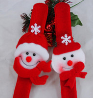christmas decoration santa claus - 2015 Cute Christmas Slap Bracelets Santa Claus Snowman slap Pat Circle Bracelet Wristband Xmas Decorations Gifts Circle Handwear MYF273