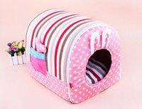 al por mayor jaulas de los conejos-Oído Conejo lindo Tela perro de la casa, de bolsillo color de rosa para perro, casas para perros, se pliegan perro de la casa, casa pequeña jaula de perro