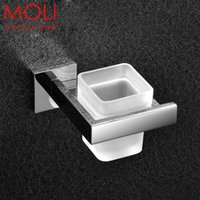 Wholesale Stainless steel bathroom tooth brush holder single tumble holder with glass square bathroom accessories