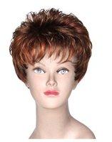 al por mayor peluca corta rubia ceniza-Borgoña y peluca rubia mezcla de ceniza corta el pelo liso Aseguramiento de pelo humano envío libre de la mujer