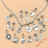 tibetan beads - 120pcs Mixed Styles Tibetan Silver Made with Love Heart Lock Key European Beads Fit for Charms Bracelets Jewelry Making DIY Handmade