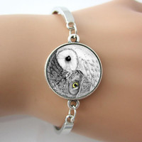Wholesale Yin Yang Owl Bracelet Glass Picture Bird Bangle Jewelry Photo Zen Nature Art Pendant Jewelry Silver Fashion Bracelet For Gift