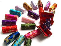 Wholesale Top quality New Retro Brocade Embroidered Lipstick Empty Cosmetic Case Holder Box with Mirror Colors Randomly