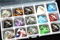 Wholesale 100pcs Alice Pearl Celluloid Acoustic Electric Guitar Picks Plectrums Large Plastic Picks Holder Case Box