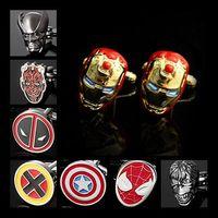 Wholesale Cufflinks X Men Wolverine Deadpool Red Devil Iron Man Spiderman Captain America Hulk The Avengers Marvel Comics Men s Shirt