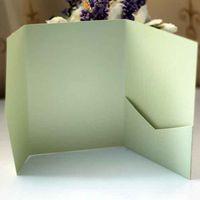 Wholesale Rustic Handmade x DIY Custom color pocketfold wedding invitations pocket invitations with envelops