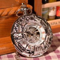Wholesale White Silver Vine Steampunk Antique Spider Canvas Necklace Chain Pendant Mechanical Hand Wind Pocket Watch Gift