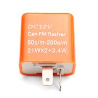Wholesale Orange V Pin Adjustable Frequency LED Flasher Relay Turn Signal Indicator For Motorcycle Motorbike fix Blinker Indicator