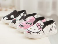 autumn shoes - Boys Casual Shoe Girls Shoes Cartoon Mouse KT Cat Canvas Autumn Korean Kids Sneakers Antiskid Footwear Yard Black Pink I4161
