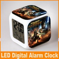 Wholesale Star Wars LED Color Changable Thermometer Calendars Digital Alarm Clocks Yoda Despertador Star Wars Figure Anime Table Clock OM CB4