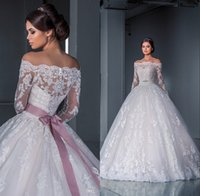 long train wedding dress - Luxurious Ball Gown Princess Lace Wedding Dresses New Off the Shoulder Long Sleeves Chapel Train Tulle Appliques Beads Bridal Gowns
